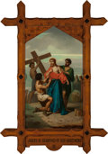 Mainstream Illustration, Continental School (20th Century). Jesus is Stripped of HisGarments (Station of the Cross X). Oil on canvas. 62 x 36 in...