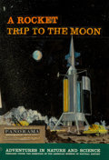 Mainstream Illustration, Chesley Bonestell (American, 1888-1986). A Rocket Trip to theMoon, preliminary book cover. Oil and gouache on hardback ...