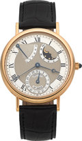Timepieces:Wristwatch, Breguet Classique No. 4215, Ref. 3130 Very Fine 18k Gold AstronomicGent's Automatic Wristwatch With Power Reserve, Date & Moo...