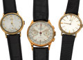 Timepieces:Wristwatch, Britix 18k Chronograph & Two 14k Gold Omega's. ... (Total: 3Items)