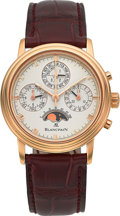 Timepieces:Wristwatch, Blancpain 18k Rose Gold Perpetual Calendar Chronograph Wristwatch No. 42. ...