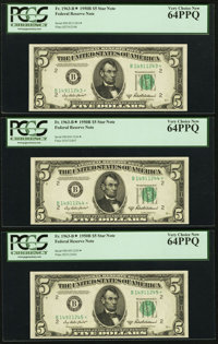Fr. 1963-B* $5 1950B Federal Reserve Star Notes. Three Consecutive Examples. PCGS Very Choice New 64PPQ