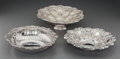 Silver Holloware, Continental:Holloware, An Edouard Ernie Silver Bowl with Two Portuguese Silver FruitBowls, late 19th-20th centuries. Marks to Ernie bowl: (Minerva...(Total: 3 Items)