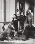 Photographs:Gelatin Silver, Minor White (American, 1908-1976) . Untitled (Portrait of aWoman and Her Dogs) . Gelatin silver. 8 x 6-1/2 inches (20.3...