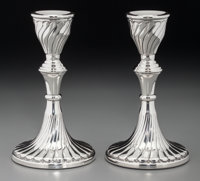 A Pair of Argentinian Weighted Silver Candlesticks, 20th century Marks: 925, INDUSTRIA ARGENTINA, D27