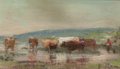 Works on Paper, Frank Reaugh (American, 1860-1945). Cattle in a Stream. Pastel on paper. 3-1/4 x 5-1/2 inches (8.3 x 14.0 cm) (sight). B...