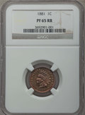 Proof Indian Cents: , 1881 1C PR65 Red and Brown NGC. NGC Census: (76/48). PCGS Population: (97/44). CDN: $435 Whsle. Bid for problem-free NGC/PC...
