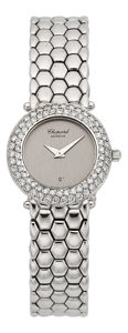 Timepieces:Wristwatch, Chopard 18k White Gold & Diamond Bracelet Watch. ...