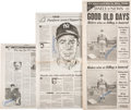 Baseball Collectibles:Others, Circa 1985 Joe DiMaggio Signed Newspaper Photographs Lot of ...