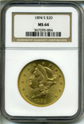 1894-S $20 MS64 NGC. Conditionally scarce in Choice condition, this piece displays shimmering mint luster and is sharply...