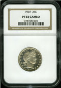Proof Barber Quarters: , 1907 25C PR64 Cameo NGC....