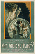 "Movie Posters:Drama, Why I Would Not Marry? (Fox, 1918). One Sheet (27"" X 41.5"").. ..."
