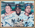 Baseball Collectibles:Uniforms, Mickey Mantle, Willie Mays and Duke Snider Multi-Signed Plaque....