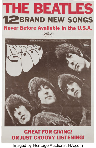Beatles Rubber Soul In-Store Promo Poster (Capitol, 1965)     Music
