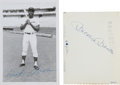 Baseball Collectibles:Photos, 1960's Mickey Mantle & Hank Aaron Signed Photographs Lot of2....