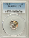 Roosevelt Dimes, 1951-D 10C MS67+ Full Bands PCGS. PCGS Population: (79/5 and 20/0+). NGC Census: (75/1 and 4/0+). Mintage 56,529,000. ...