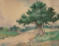 Works on Paper, Julian Onderdonk (American, 1882-1922). Gate by the Oak Tree. Watercolor on paper laid on board. 8 x 10 inches (20.3 x 2...