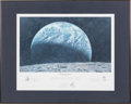 "Explorers:Space Exploration, Alan Bean Signed Limited Edition ""Kissing the Earth"" Print, also Signed by Charles Conrad and Richard Gordon, #344/650, in Fra..."