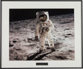 "Autographs:Celebrities, Buzz Aldrin Signed Large Apollo 11 Lunar Surface ""Visor"" ColorPhoto in Framed Display...."