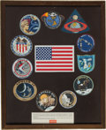 Explorers:Space Exploration, Apollo Program: Complete Set of Beta Cloth Mission Insignias inOriginal Framed Display....