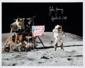 "Autographs:Celebrities, John Young Signed Apollo 16 Lunar Surface ""Leaping Flag Salute""Color Photo. ..."