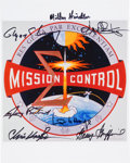 Autographs:Celebrities, NASA Mission Control: Insignia Color Photo Signed by SevenControllers. ...