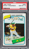Baseball Cards:Singles (1970-Now), 1980 Topps Rickey Henderson #482 PSA Gem Mint 10....