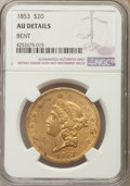 Liberty Double Eagles: , 1853 $20 -- Bent -- NGC Details. AU. NGC Census: (149/820). PCGS Population: (125/325). CDN: $2,500 Whsle. Bid for problem-...