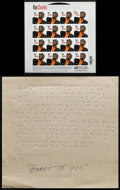 """Movie Posters:Miscellaneous, Ray Charles: Beers to You & Other Lot (1980). Braille Sheet Music (11"""" X 11.5"""") & Unused Sheet of Stamps (7"""" X 7""""). Miscella... (Total: 2 Items)"""