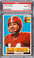 Football Cards:Singles (1950-1959), 1956 Topps Y. A. Tittle #86 PSA Gem Mint 10 - Pop Two....