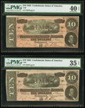 Confederate Notes:1864 Issues, T68 $10 1864 PF-38 Cr. 550 Two Consecutive Examples.. ... (Total: 2 notes)