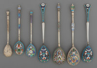A Group of Seven Russian Silver and Enamel Spoons, late 19th/early 20th century Marks: 84 (left facing Kokoshnik),... (T...