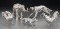 Silver Holloware, Continental:Holloware, A Five-Piece Silver Animal Grouping: Elephant, BoykinSpaniel Dog, Pair of Roosters and ... (Total: 4 Items)
