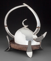A Michael and Maureen Banner Great Horned Silver Teapot with Macassar Ebony Tray, Mo