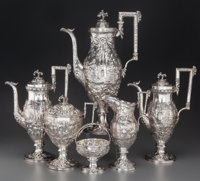A Six-Piece S. Kirk & Son Coin Silver Tea and Coffee Service with Landscape and Ram Motifs, Baltimore, Maryland, cir...