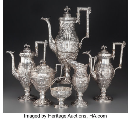 A Six-Piece S. Kirk & Son Coin Silver Tea and Coffee Service with Landscape and Ram Motifs, Baltimore, Maryland, circa 1830-... (Total: 6 Items)