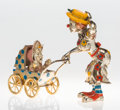 Silver Smalls:Other , A Three-Piece Tiffany & Co. Silver and Enamel Circus ClownMother and Baby in Carriage, Designed by Gene Moore, New York,Ne... (Total: 2 )