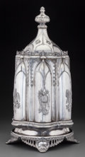 Silver Holloware, American:Other , A Roswell Gleason & Sons Gothic Revival Silver-Plated andCut-Glass Mechanical Cruet Stand, Dorchester, Massachusetts,circa...