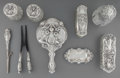 Silver Holloware, American:Vanity, An Assembled Nine-Piece American Art Nouveau Silver and Cut-GlassVanity Set, circa 1900. Marks: STERLING, (B-diamond). ...(Total: 8 Items)