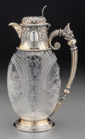 A William & George Sissons Victorian Partial Gilt Silver and Intaglio Glass Claret Jug, Sheffield, England, circa 18...
