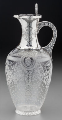 A William & George Sissons Silver and Intaglio Glass Claret Jug with Neoclassical Motif, Sheffield, England, circa 1...