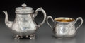 Silver Holloware, British:Holloware, A Hunt & Roskell Victorian Partial Gilt Silver Teapot andSugar, London, England, circa 1875. Marks to sugar: (lionpassant)... (Total: 2 Items)