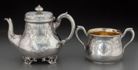 A Hunt & Roskell Victorian Partial Gilt Silver Teapot and Sugar, London, England, circa 1875 Marks to sugar: (li...