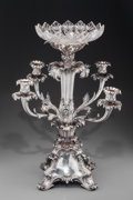 Silver Holloware, British:Holloware, A Edward, Edward Jr., John & William Barnard Victorian Silverand Glass Epergne, London, England, circa 1838. Marks: (lion p...