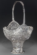 Silver Holloware, Continental:Holloware, A Monumental German Silver Basket, Hanau, Germany, late 19thcentury. Marks: 800, GERMANY, (crowned clover). 25 h x 15w...
