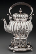 Silver Holloware, American:Tea Pots, A J.E. Caldwell & Co. Silver Hot Water Kettle on Stand,Philadelphia, Pennsylvania, circa 1885. Marks: STERLING, J.E.CALD...