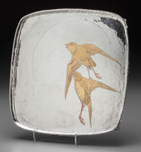 A Tiffany & Co. Silver and Mixed Metal Japanesque Tray: Swallows in Flight, New York, New York
