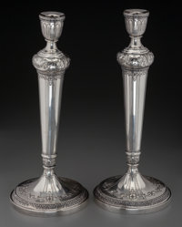 A Pair of International Silver Marie Antoinette Pattern Weighted Silver Candlesticks