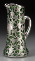 Silver Holloware, American:Pitchers, An Alvin Silver Overlay Green Glass Trophy Pitcher, Providence,Rhode Island, circa 1899. Marks: A, 999-1000, FINE, G325,...