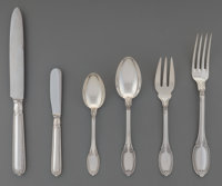 A Thirty-Eight Piece Buccellati Empire Pattern Silver Flatware Service for Six, Mila
